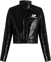 Courreges Stand-collar patent faux-leather jacket
