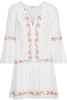 Joie Jarette Embroidered Crinkled Cotton-gauze Mini Dress