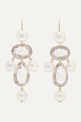 Marie Helene De Taillac Diane De Poitiers 20-karat Gold, Pearl And Quartz Earrings