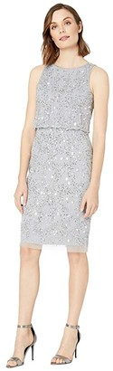 Adrianna Papell Beaded Blouson Cocktail Dress (Silver Mist) Women's Dress