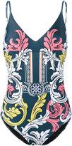 Mary Katrantzou Queen's Teal swimsuit - women - Polyester/Spandex/Elastane - S