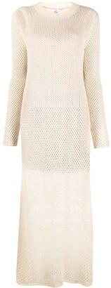 Agnona Ribbed-Knit Fishnet Dress