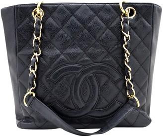Chanel Petite Shopping Tote Black Leather Handbags