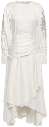 Dodo Bar Or Tess Ruched Embellished Jacquard Midi Dress