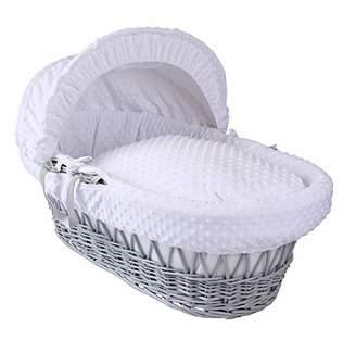Clair De Lune Dimple Grey Wicker Moses Basket