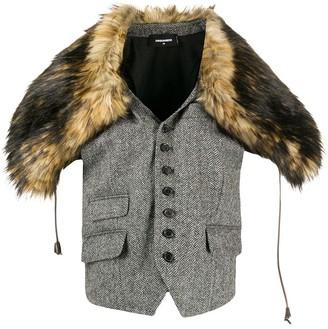DSQUARED2 Faux-Fur Shoulder Waistcoat