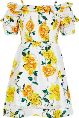 River Island Girls White floral bardot puff sleeve dress