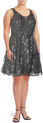 Marina Plus Embellished A-Line Dress
