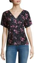 T Tahari Sharee Floral Printed V-Neck Top