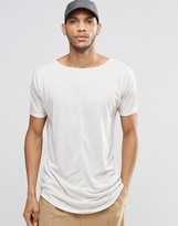 Asos Super Longline T-Shirt With Raw Edges In Linen Mix Fabric With Boat Neck