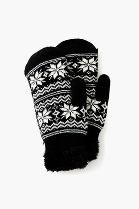 David And Young Black Snowflake Cozy Mittens