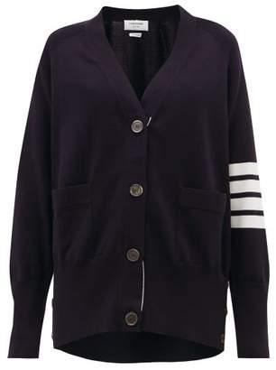 Thom Browne V-neck Cotton Cardigan - Womens - Navy
