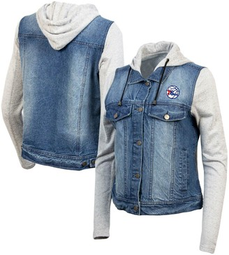 Antigua Women's Blue Philadelphia 76ers Swag Jean Bomber Jacket