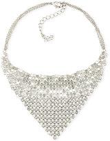 ABS by Allen Schwartz Silver-Tone Crystal Mesh Bib Necklace