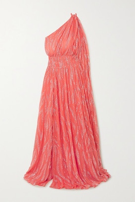 Redemption One-shoulder Glittered Chiffon Gown - Coral