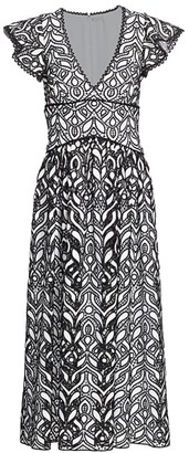 ML Monique Lhuillier Embroidered Lace Midi Dress