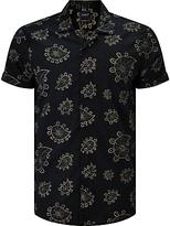 Scotch & Soda Short Sleeve Allover Paisley Print Shirt, Black