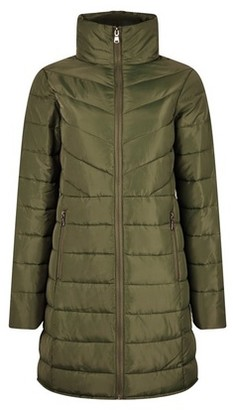 Dorothy Perkins Womens Khaki Long Padded Jacket With Recycled Wadding