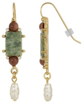2028 Gold-Tone Semi Precious Aventurine Rectangle Imitation Pearl Drop Earrings