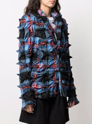 Charles Jeffrey Loverboy Spike-gathered tartan wool blazer