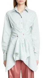 Sies Marjan Ainsley Ruched Stripe Cotton Blend Shirt