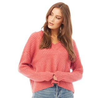 Only Womens Vivia Long Sleeve Pullover Knit Mineral Red