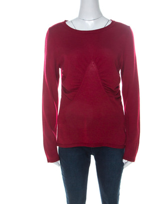 Escada Red Cashmere Knit Ruched Front Top M