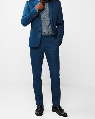 Express Extra Slim Blue Cotton Sateen Stretch Suit Jacket