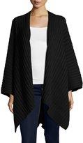 Neiman Marcus Rib-Knit Blanket Wrap, Black