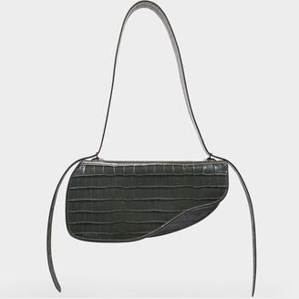 Ratio et Motus Holster Bag In Grey Croc Embossed Leather