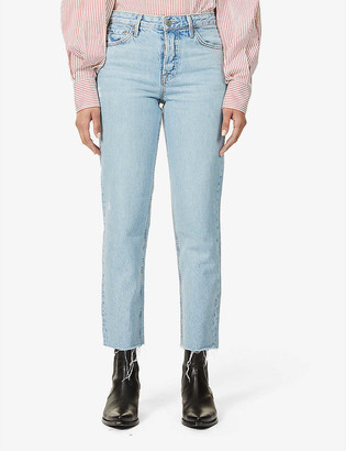GRLFRND Helena cropped straight-leg high-rise jeans