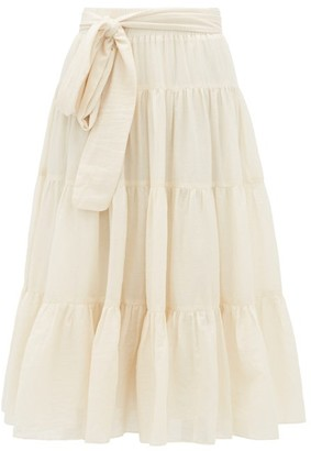 Loup Charmant Demeter Tiered Cotton Midi Skirt - Womens - Ivory