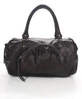 Botkier Chocolate Brown Ruched Leather Silver Tone Zipper Satchel Handbag