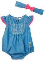 Juicy Couture Newborn/Infant Girls) Embroidered Chambray Sunsuit & Headband Set