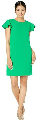 Milly Cady Bryce Ruffle Sleeve Dress (Kelly) Women's Clothing