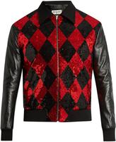 Saint Laurent Sequin-embellished wool and leather bomber jacket