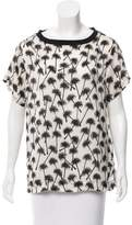 L'Agence Palm Tree Print Short Sleeve Top