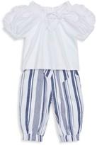 Habitual Little Girl's 2-Piece Ruffled Top & Stripe Pants Set