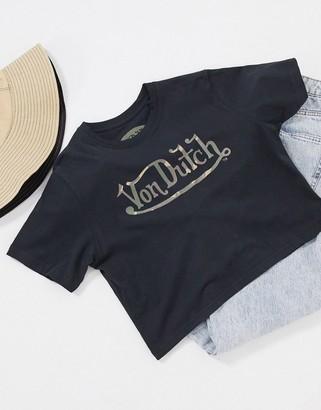 Von Dutch camo logo cropped t-shirt