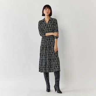 Warehouse BRUSHED CHECK MIDI SHIRT DRESS