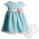 Sweet Heart Rose Dot Eyelet Dress in Blue