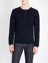 Sandro Leather-trim wool jumper