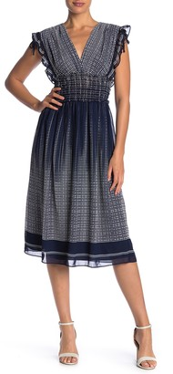 Max Studio Smocked Waist V-Neck Dress