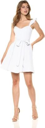 Milly Women's Seersucker Classico Corset Ruffle Dress Mini Grey 6