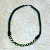 Braided Necklace African Artisan Crafted Jewelry, 'Ashanti Muse in Green'