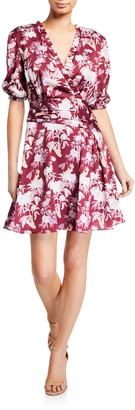 Three floor Capricious Printed Elbow-Sleeve Mini Dress