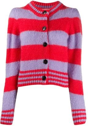 ALEXACHUNG Striped Cropped Cardigan