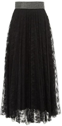 Christopher Kane Crystal-embellished Floral-lace Skirt - Black