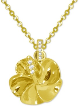 """Kona Bay Crystal Accent Flower Pendant Necklace in Gold-Plate, 16"""" + 2"""" extender"""