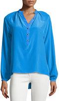 Yumi Kim Trina Long-Sleeve Pleated Blouse, Blue